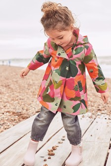 Pink Shower Resistant Floral Print Jacket (3mths-7yrs)