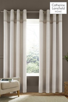 Catherine Lansfield Natural Melville Woven Texture Eyelet Curtains