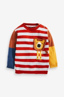Rust Lion Stripe Jumper (3mths-7yrs)