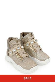 Girls Gold Glitter Boots