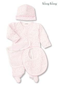 Kissy Kissy Pink Heart Print Babygrow Gift Set