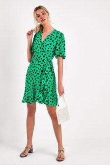 c65a4234c8da8 Green Spot Print - Puff Sleeve Wrap Dress ...