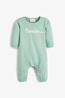 Mint GOTs Organic Smile Slogan Knitted Romper (0-12mths)