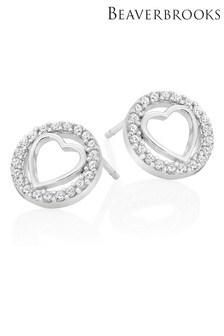 Beaverbrooks Sterling Silver Cubic Zirconia Heart Earrings