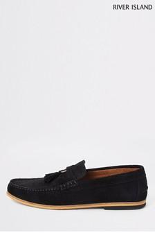 River Island Black Tadley Ring Tassel Loafer Shoes