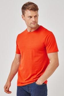 Bright Orange Slim Fit Crew Neck T-Shirt