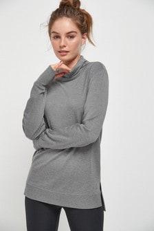 Charcoal Longline Cowl Neck Top