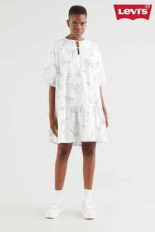 Levi's® White Squiggle Tiered Dress