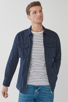 Navy Lightweight Zip Shacket