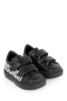 Boys Black Leather Logo Strap Trainers