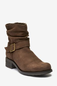 Chocolate Brown Regular/Wide Fit Forever Comfort Pull-On Buckle Boots
