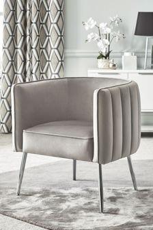 Opulent Velvet Steel Paige Accent Chair