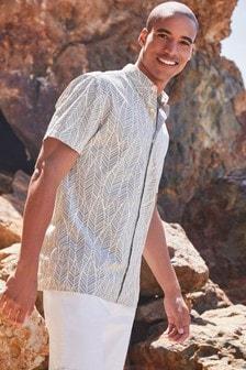 Green/White Slim Fit Printed Short Sleeve Shirt