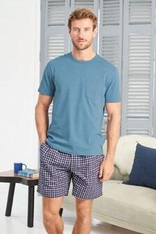 Blue Check Woven Short Pyjama Set
