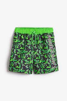 Green Minecraft Licence Swim Shorts (3-16yrs)