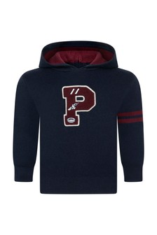 Baby Boys Navy Hooded Logo Sweater