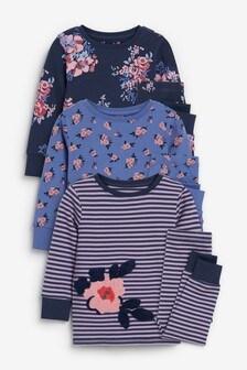 Navy 3 Pack Floral Snuggle Pyjamas (9mths-16yrs)