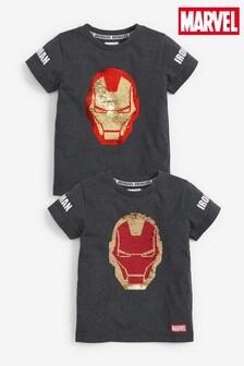 Charcoal Ironman Flippy Sequin T-Shirt (12mths-8yrs)