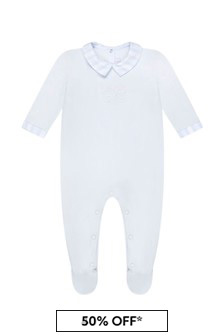 Baby Girls Blue Cotton Babygrow