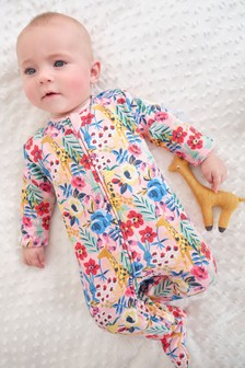 Bright Floral Fleece Lined Sleepsuit (0mths-2yrs)
