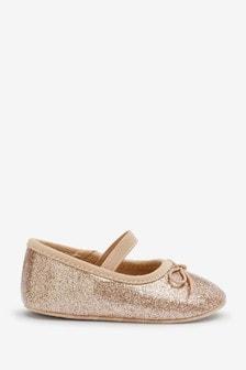 Gold Glitter Mary Jane Bow Pram Shoes (0-18mths)