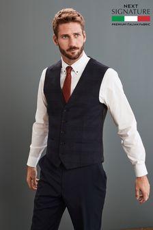 Blue Angelico Signature Check Suit: Waistcoat