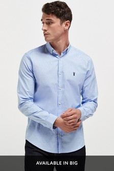 Light Blue Regular Fit Long Sleeve Stretch Oxford Shirt
