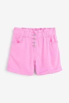 Pink Linen Blend Shorts