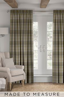Dobby Check Ochre Yellow Made To Measure Curtains