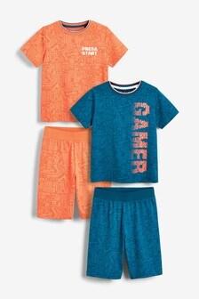 Multi 2 Pack Gamer Short Pyjamas (3-12yrs)