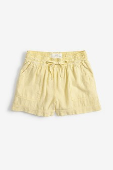 Yellow Linen Blend Shorts