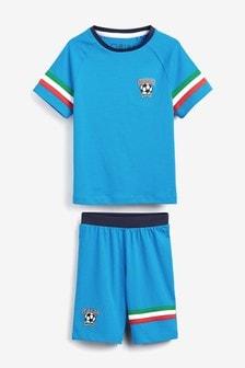 Blue Italy Football Short Pyjamas (3-16yrs)