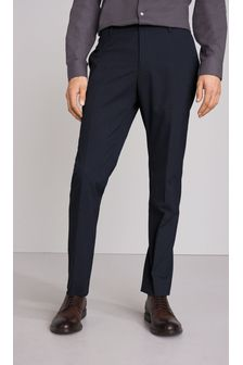 Navy Slim Fit Textured Trousers