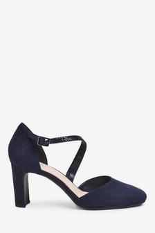 Navy Square Toe Asymmetric Strap Heels