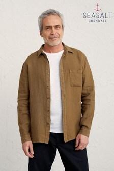Seasalt Mens Brown Waxed Canvas Curator Shirt