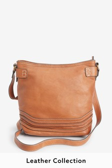 Tan Leather Stitch Bucket Bag