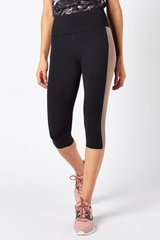 Black/Lilac Panel Technical Capri Leggings