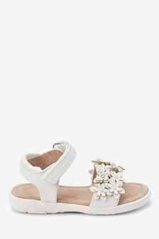 White Embellished Flower Sandals (Younger)