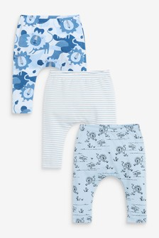 Blue 3 Pack GOTS Organic Lion Leggings (0mths-3yrs)