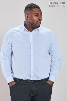 Light Blue Plus Fit Single Cuff Signature Textured Trimmed Shirt
