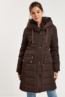 Chocolate Double Layer Long Padded Coat
