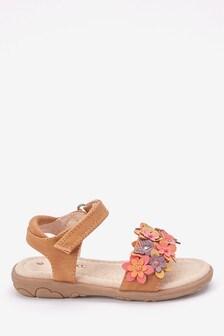 Tan Embellished Flower Sandals (Younger)