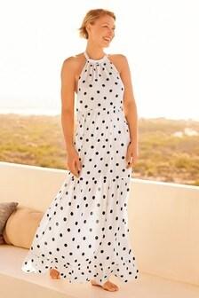 Ecru Spot Emma Willis Halterneck Maxi Dress