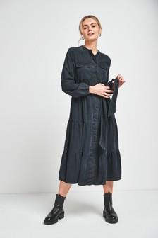 Black Denim Tiered Belted Dress