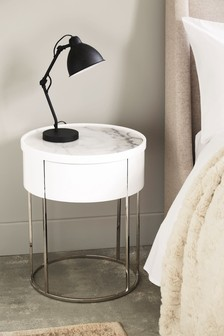 Sloane Marble Round 1 Drawer Bedside Table