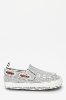 Grey Pram Slip-On Boat Shoes (0-24mths)