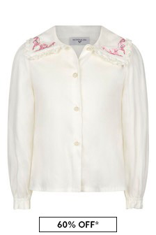Girls Ivory Viscose Blouse