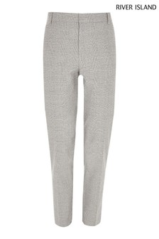 River Island Grey Texture Check Trousers