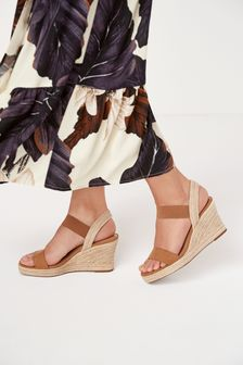 Tan Regular/Wide Fit Square Toe Espadrille Wedges