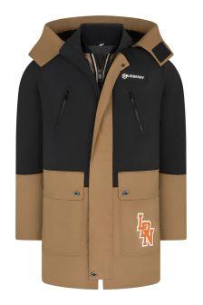 Boys Black/Beige Logo Padded Jacket Set